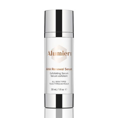 white 30 milliliter bottle of AlumierMD AHA Renewal Serum