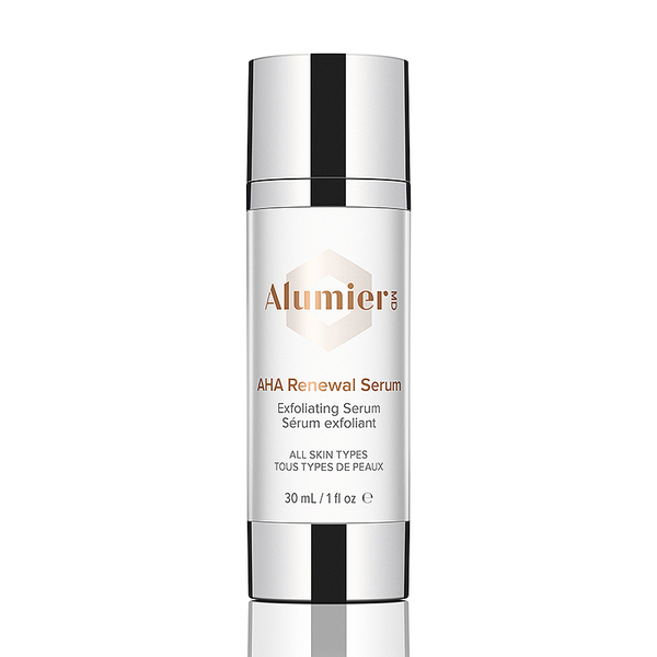 white 30 milliliter bottle of AlumierMD AHA Renewal Serum