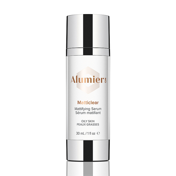 white 30 milliliter bottle of AlumierMD Matticlear