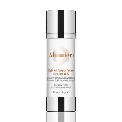 white 30 milliliter bottle of AlumierMD Retinol Resurfacing Serum 0.5