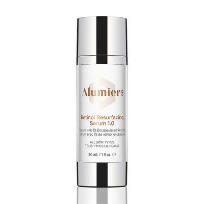 white 30 milliliter bottle of AlumierMD Retinol Resurfacing Serum 1.0