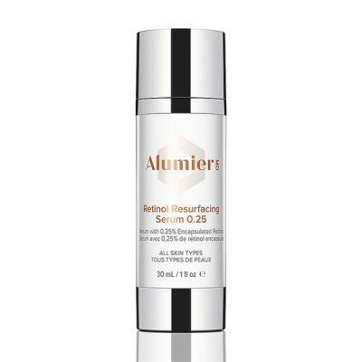 white 30 milliliter bottle of AlumierMD Retinol Resurfacing Serum 0.25