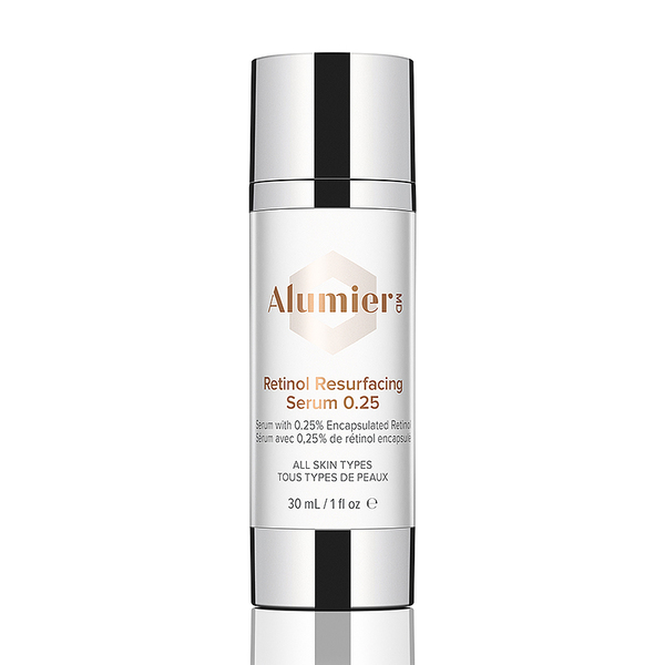 white 30 milliliter bottle of AlumierMD Retinol Resurfacing Serum 0.25