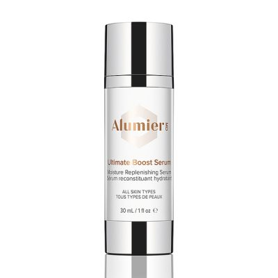 white 30 milliliter bottle of AlumierMD Ultimate Boost Serum