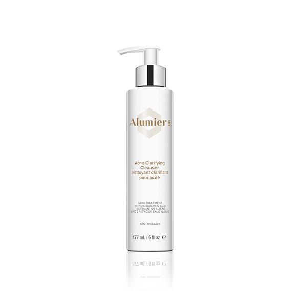 white 177 milliliter bottle of AlumierMD Acne Clarifying Cleanser